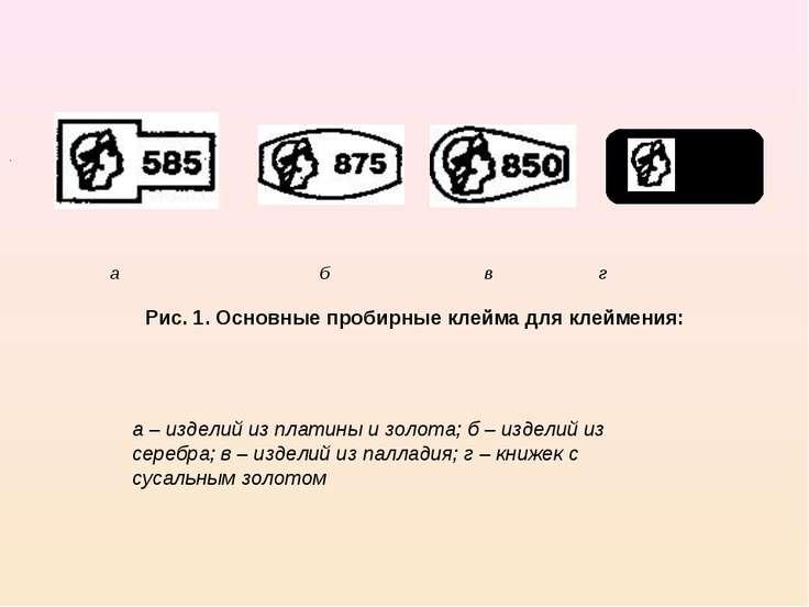 а б в г Рис. 1. Основные пробирные клейма для клеймения: а – изделий из плати...