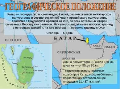 Катар — государство в юго-западной Азии, расположенное на Катарском полуостро...
