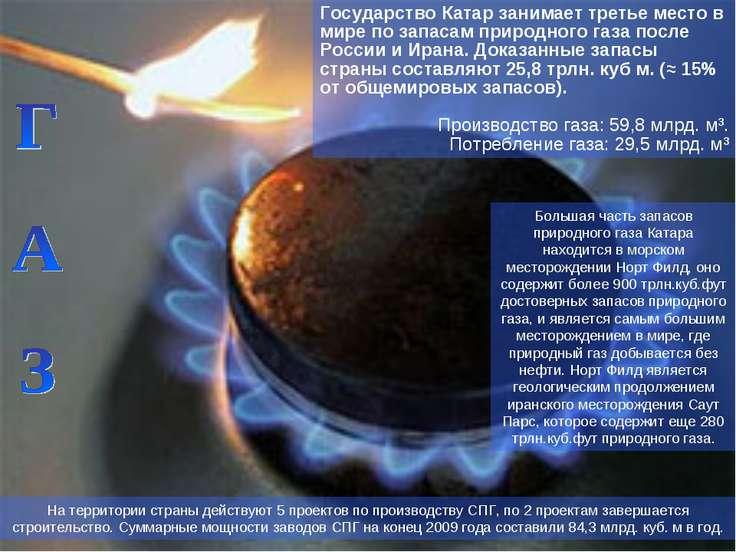 Государство Катар занимает третье место в мире по запасам природного газа пос...