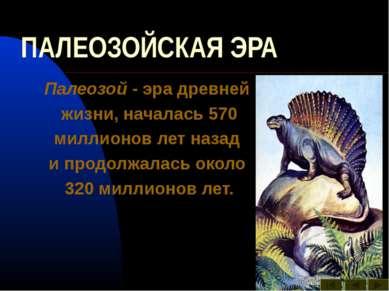 ПАЛЕОЗОЙСКАЯ ЭРА Палеозой - эра древней жизни, началась 570 миллионов лет наз...