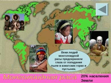 20% населения Земли Веки людей монголоидной расы предохраняли глаза от попада...