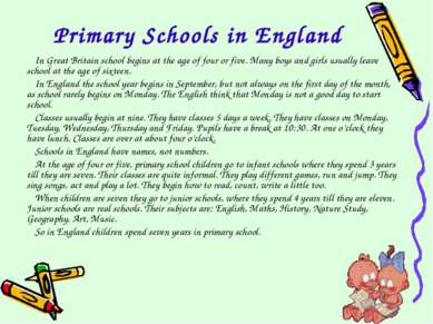 Primary Schools in England In Great Britain school begins at the age of four ...