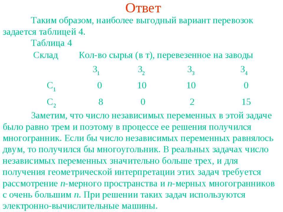 Ответ Таким образом, наиболее выгодный вариант перевозок задается таблицей 4....