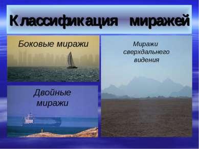 Классификация миражей Двойные миражи Боковые миражи Миражи сверхдальнего видения