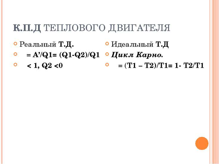 К.П.Д ТЕПЛОВОГО ДВИГАТЕЛЯ Реальный Т.Д. ῄ = A'/Q1= (Q1-Q2)/Q1 ῄ < 1, Q2
