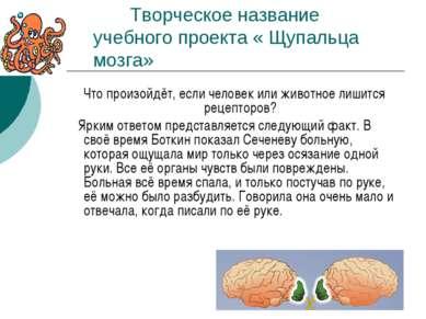 Творческое название учебного проекта « Щупальца мозга» Что произойдёт, если ч...