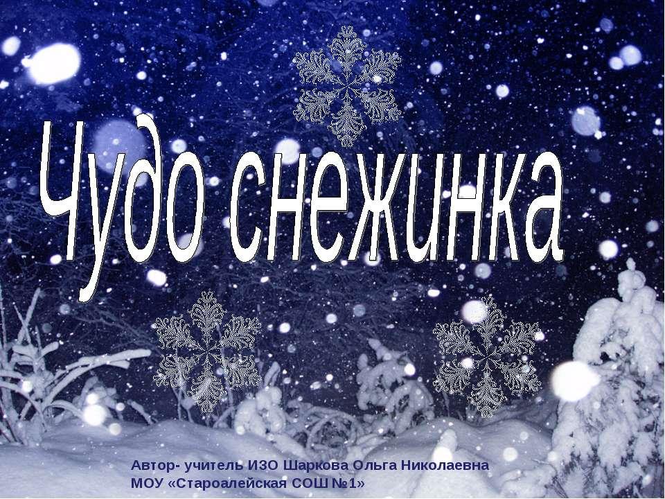 Автор- учитель ИЗО Шаркова Ольга Николаевна МОУ «Староалейская СОШ №1»