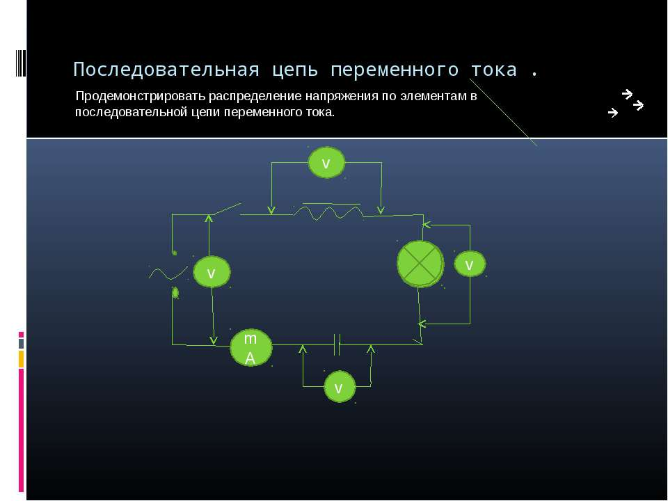 Последовательная цепь переменного тока . Продемонстрировать распределение нап...