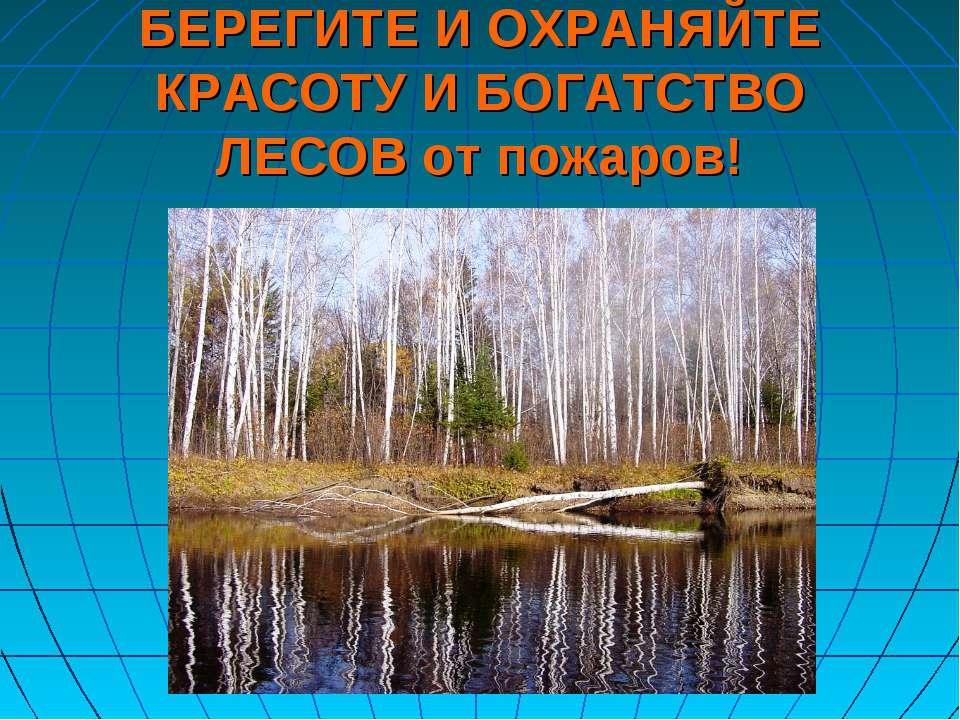 БЕРЕГИТЕ И ОХРАНЯЙТЕ КРАСОТУ И БОГАТСТВО ЛЕСОВ от пожаров!