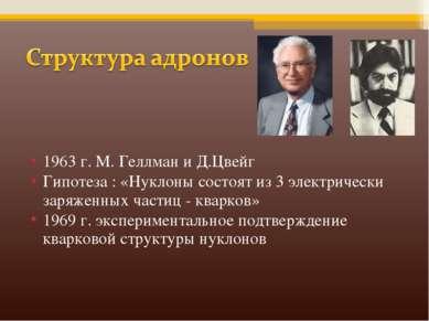 1963 г. М. Геллман и Д.Цвейг Гипотеза : «Нуклоны состоят из 3 электрически за...