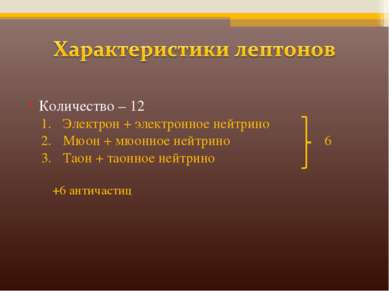Количество – 12 Электрон + электронное нейтрино Мюон + мюонное нейтрино 6 Тао...
