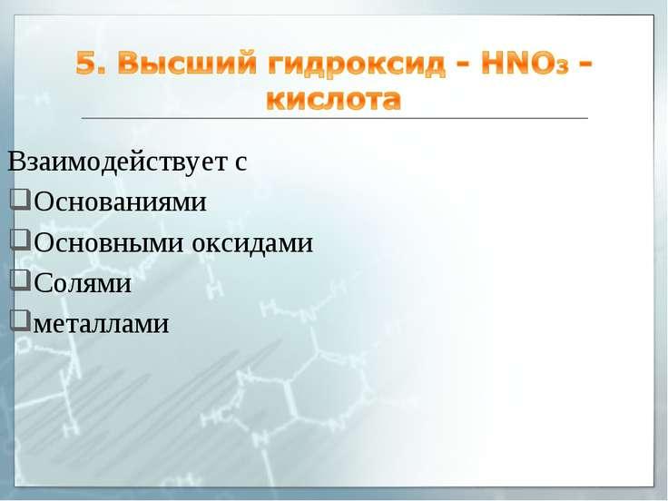Взаимодействует с Основаниями Основными оксидами Солями металлами