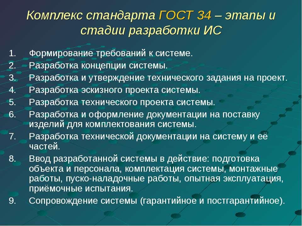 Комплекс стандарта ГОСТ 34 – этапы и стадии разработки ИС Формирование требов...