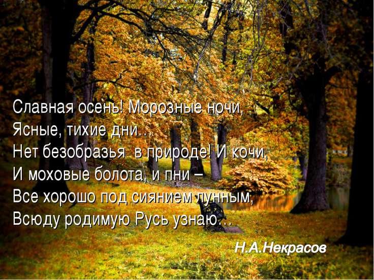 Славная осень! Морозные ночи, Ясные, тихие дни… Нет безобразья в природе! И к...