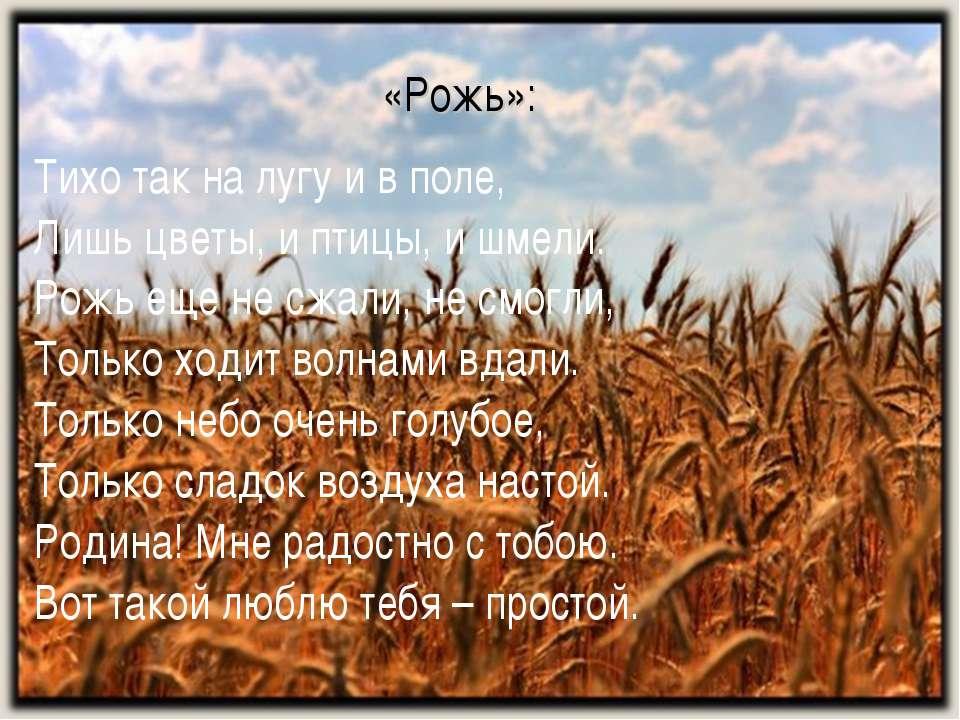 «Рожь»: Тихо так на лугу и в поле, Лишь цветы, и птицы, и шмели. Рожь еще не ...