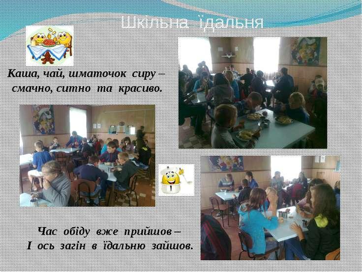 Шкільна їдальня Каша, чай, шматочок сиру – смачно, ситно та красиво. Час обід...