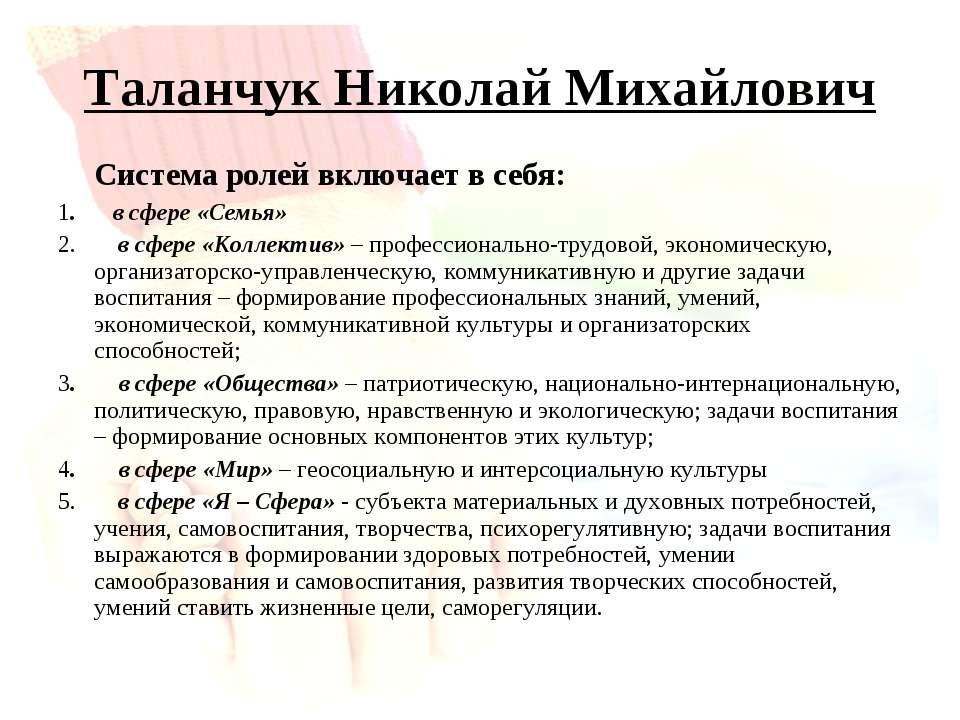 Таланчук Николай Михайлович Система ролей включает в себя: 1. в сфере «Семья»...