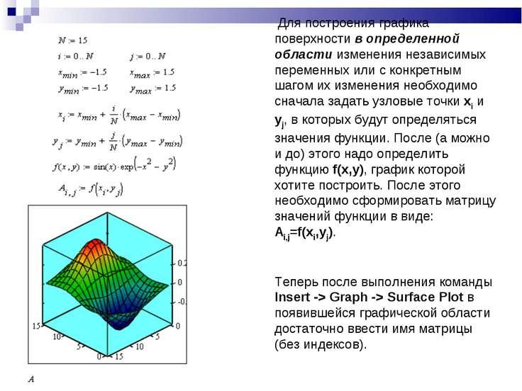 Для построения графика поверхности в определенной области изменения независим...