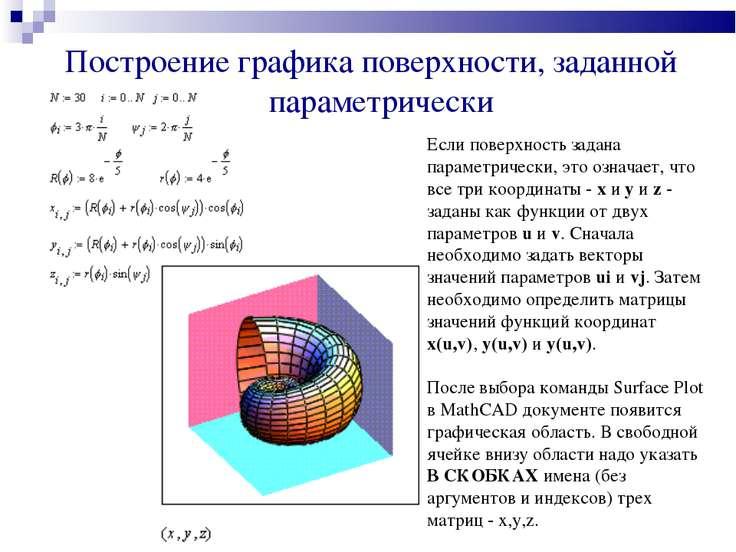 Построение графика поверхности, заданной параметрически Если поверхность зада...