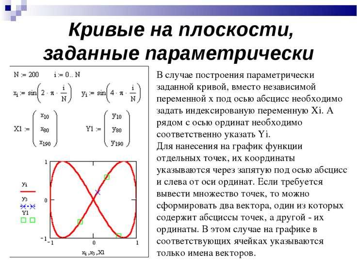 Кривые на плоскости, заданные параметрически В случае построения параметричес...