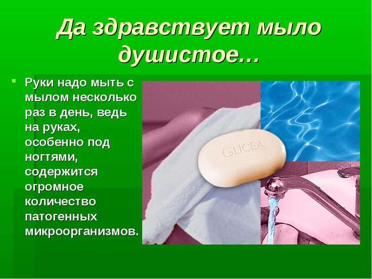Да здравствует мыло душистое… Руки надо мыть с мылом несколько раз в день, ве...