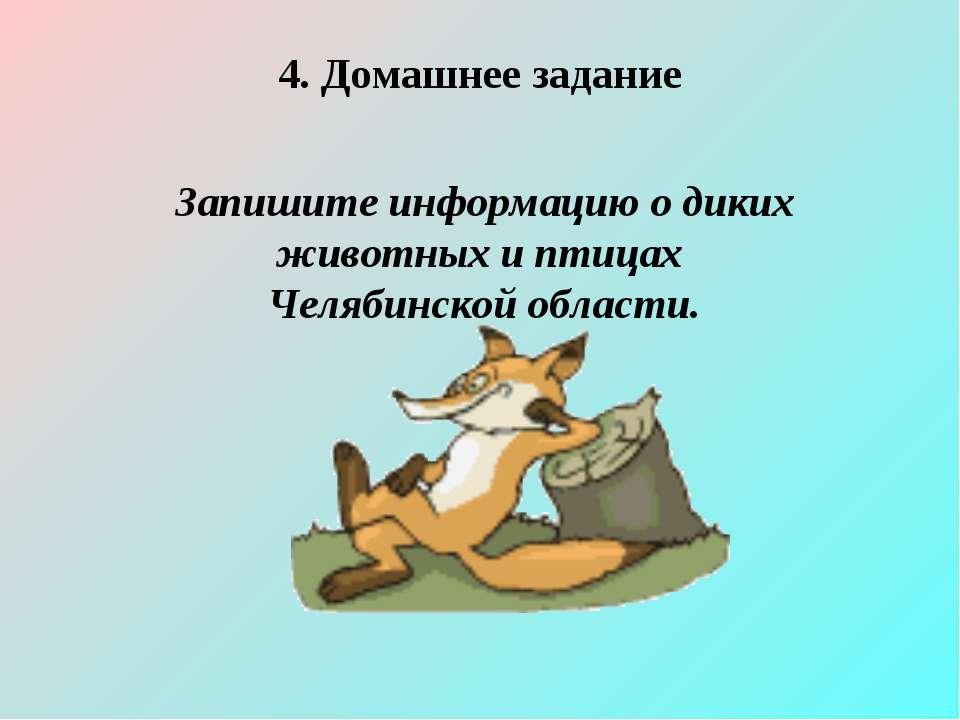 4. Домашнее задание Запишите информацию о диких животных и птицах Челябинской...