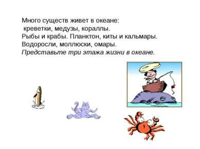 Много существ живет в океане: креветки, медузы, кораллы. Рыбы и крабы. Планкт...