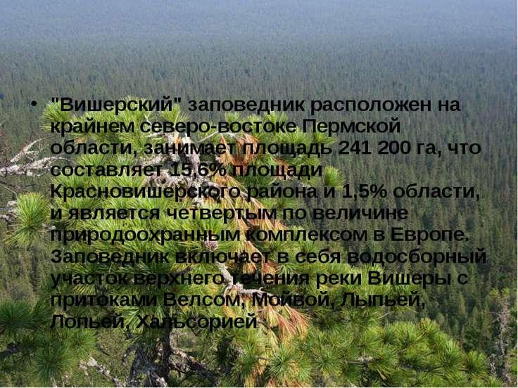 """""""Вишерский"""" заповедник расположен на крайнем северо-востоке Пермской области,..."""