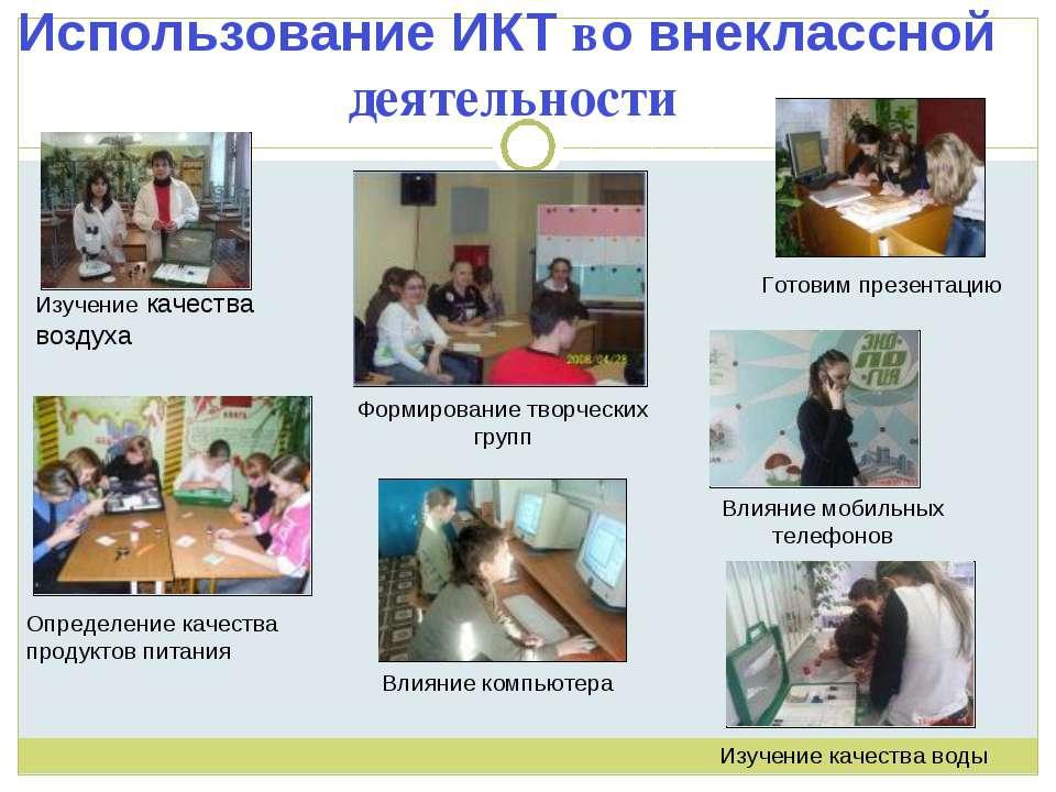 Использование ИКТ во внеклассной деятельности Изучение качества воздуха Опред...