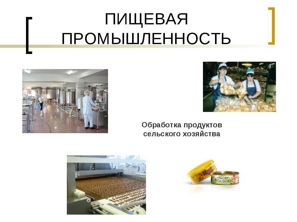 ПИЩЕВАЯ ПРОМЫШЛЕННОСТЬ Обработка продуктов сельского хозяйства