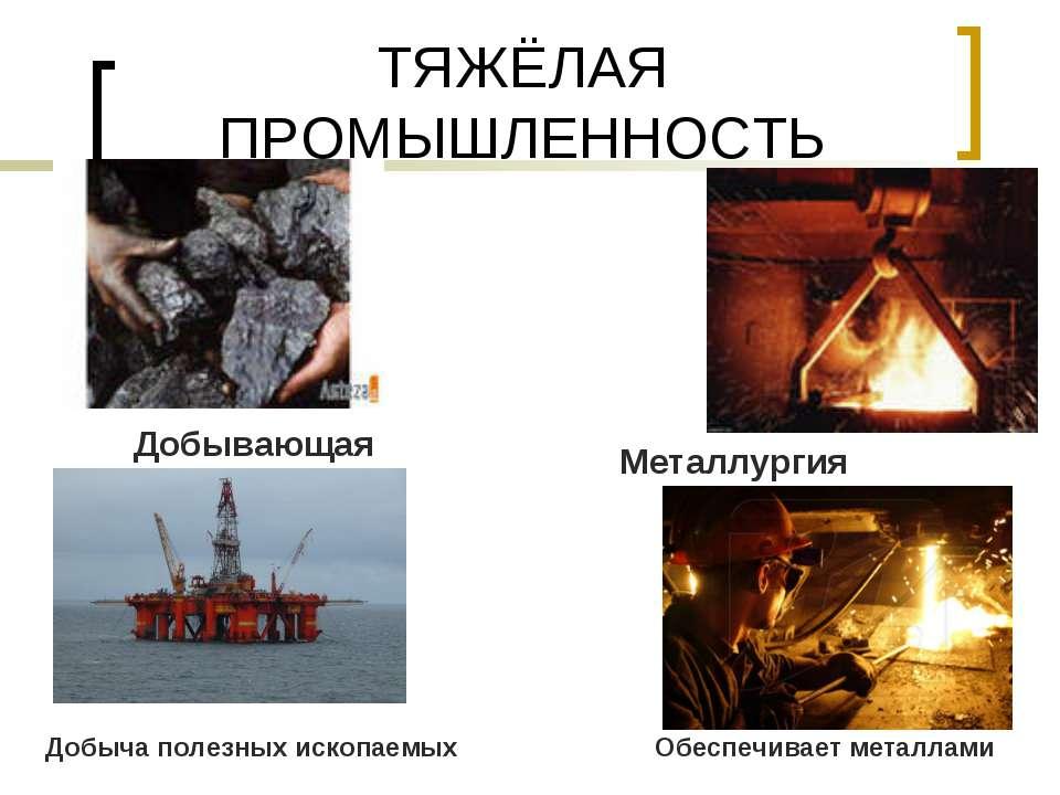 ТЯЖЁЛАЯ ПРОМЫШЛЕННОСТЬ Металлургия Добывающая Добыча полезных ископаемых Обес...