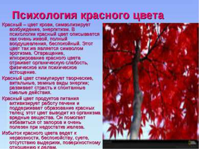 Психология красного цвета Красный – цвет крови, символизирует возбуждение, эн...