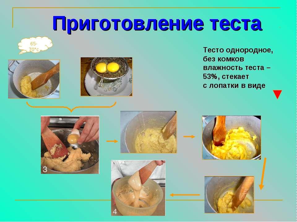 65-70°с Приготовление теста Тесто однородное, без комков влажность теста – 53...