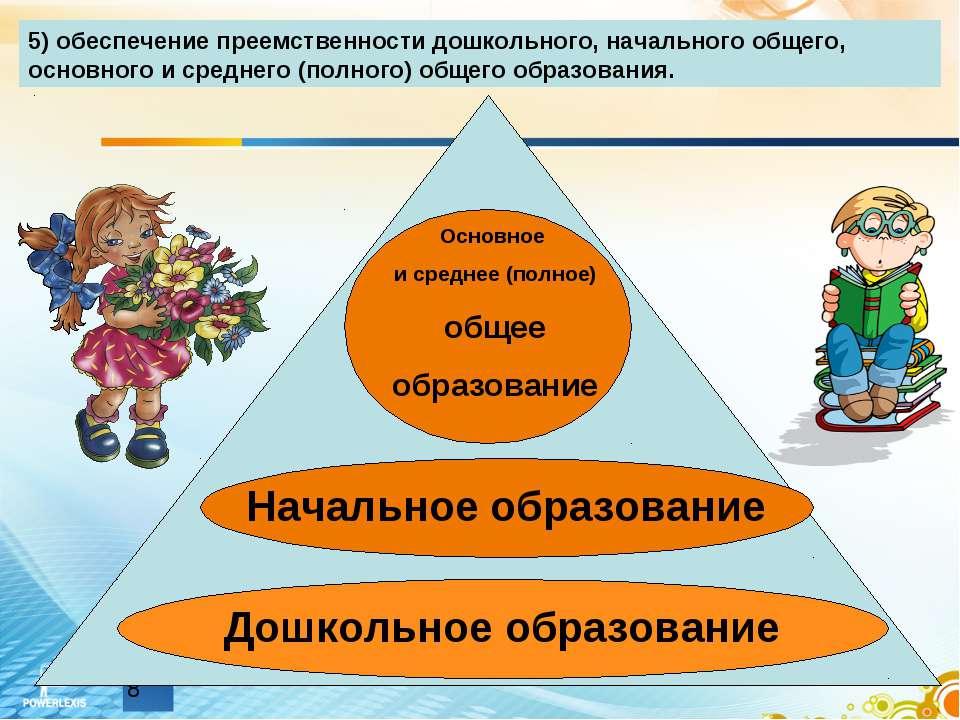 5) обеспечение преемственности дошкольного, начального общего, основного и ср...