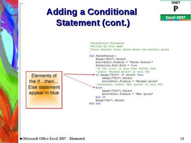 * Microsoft Office Excel 2007 - Illustrated Adding a Conditional Statement (c...