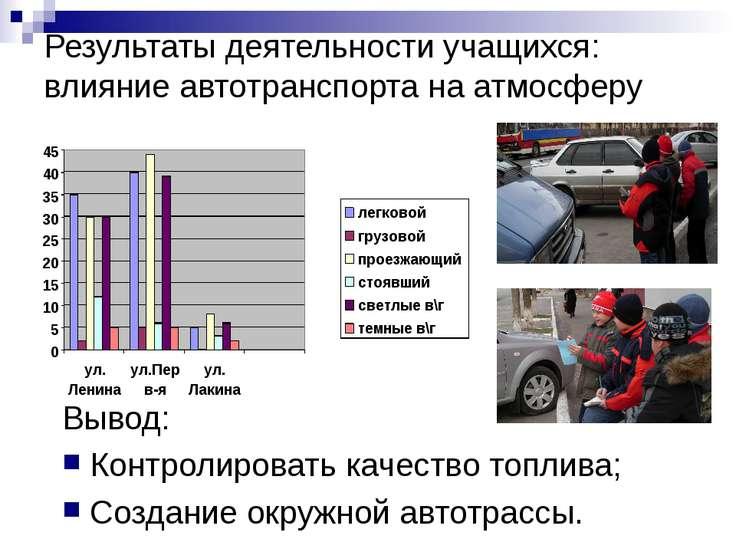 Результаты деятельности учащихся: влияние автотранспорта на атмосферу Вывод: ...
