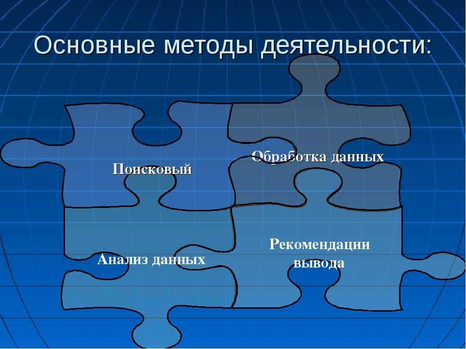 Основные методы деятельности: