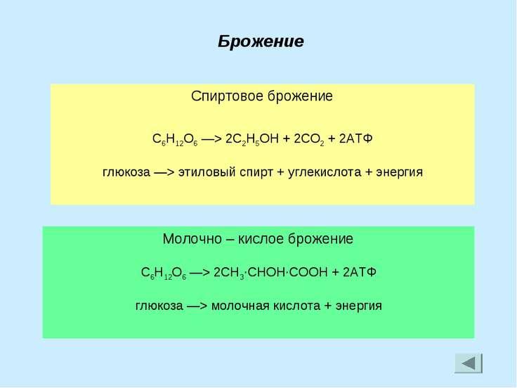 Брожение Спиртовое брожение C6H12O6 —> 2C2H5OH + 2CO2 + 2АТФ глюкоза —> этило...