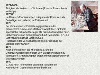 1872-1880 Tätigkeit als Kreisarzt in Wollstein (Provinz Posen, heute: Wolszty...