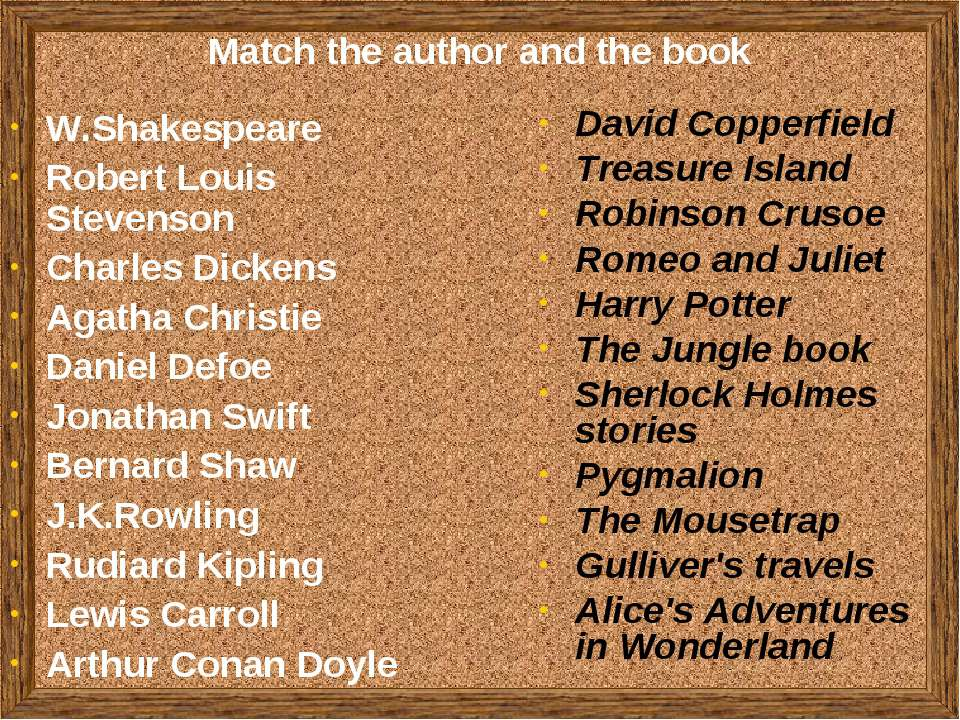 Match the author and the book W.Shakespeare Robert Louis Stevenson Charles Di...