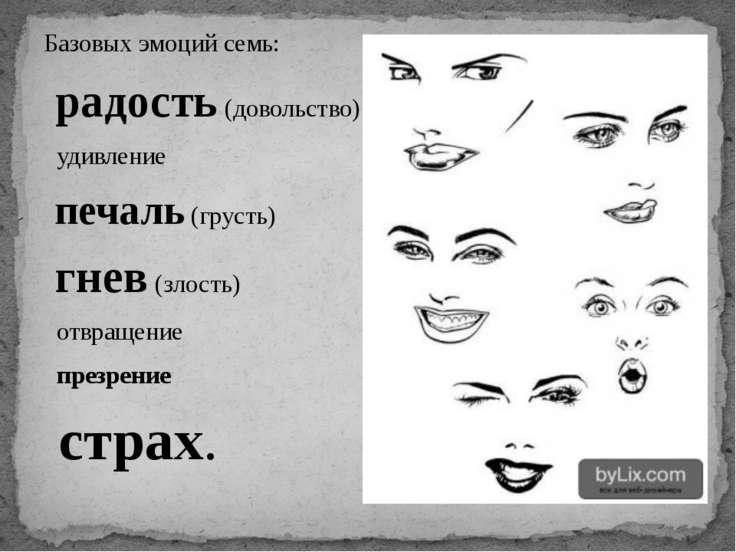 Базовых эмоций семь: радость (довольство) удивление печаль (грусть) гнев (зло...