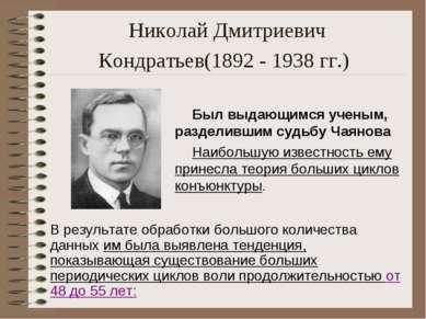 Николай Дмитриевич Кондратьев(1892 - 1938 гг.) Был выдающимся ученым, раздели...