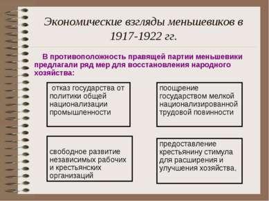 Экономические взгляды меньшевиков в 1917-1922 гг. В противоположность правяще...