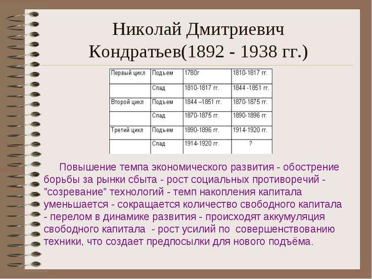Николай Дмитриевич Кондратьев(1892 - 1938 гг.) Повышение темпа экономического...