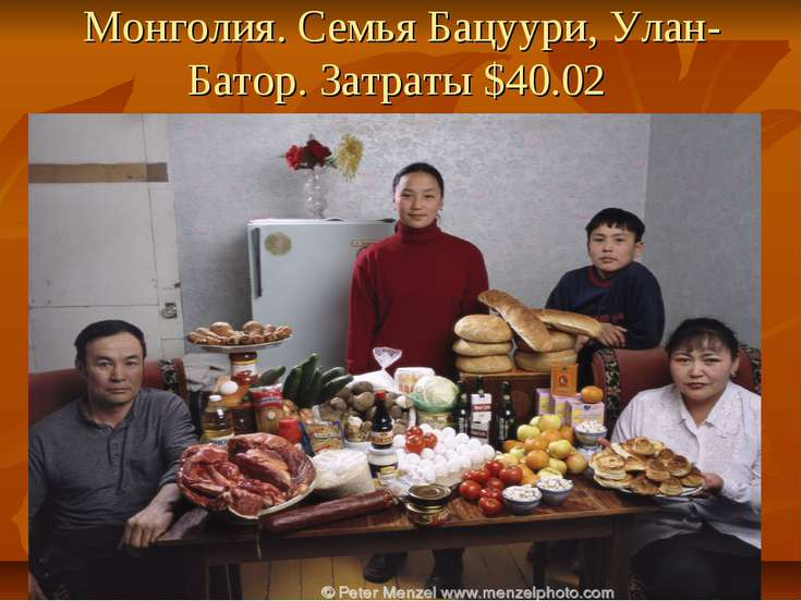 Монголия. Семья Бацуури, Улан-Батор. Затраты $40.02
