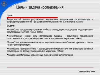 Цель и задачи исследования: Новосибирск, 2008 Цель: Теоретический анализ регу...