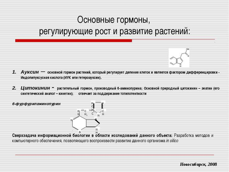 Основные гормоны, регулирующие рост и развитие растений: Новосибирск, 2008 Ау...