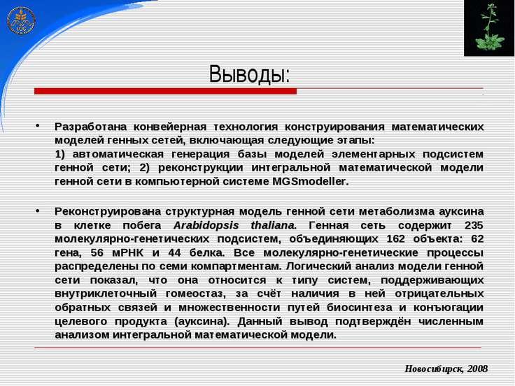 Новосибирск, 2008 Разработана конвейерная технология конструирования математи...