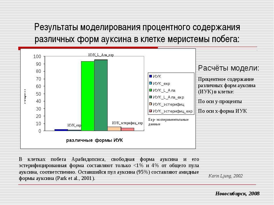 Результаты моделирования процентного содержания различных форм ауксина в клет...
