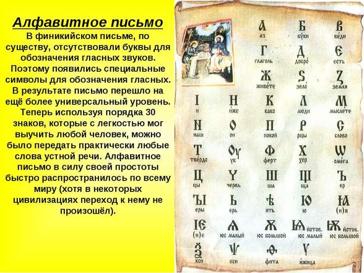 Алфавитное письмо В финикийском письме, по существу, отсутствовали буквы для ...